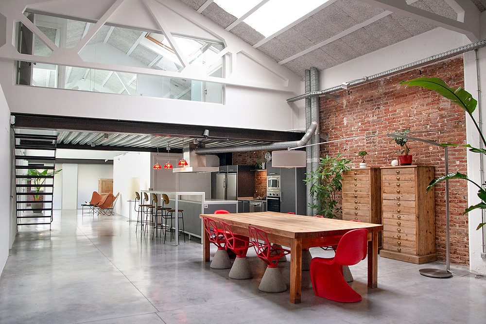 event space barcelona loft light bright spacious red chair