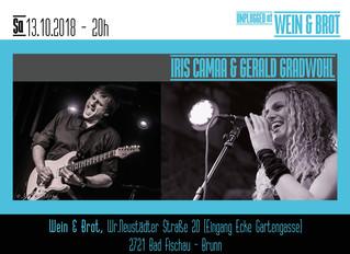 Happy to announce 13.10.2018, Iris Camaa & Gerald Gradwohl unplugged