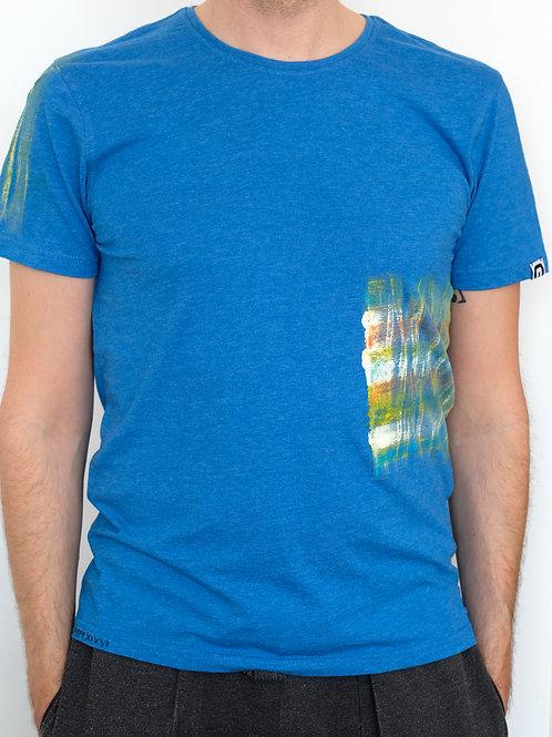 T-Shirt blue orange white
