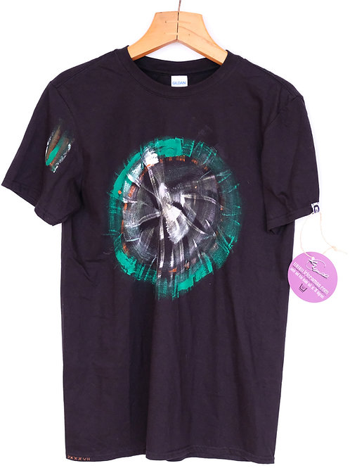 T-Shirt black-green-circle M cotton