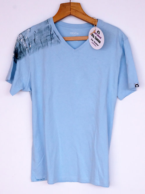 T-Shirt light blue V-neck L cotton