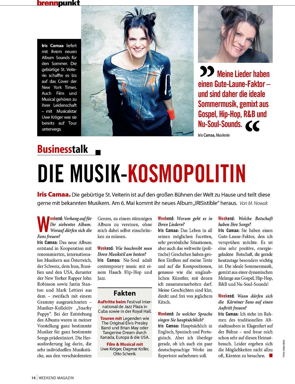 Iris Camaa die Musik-Kosmopolitin