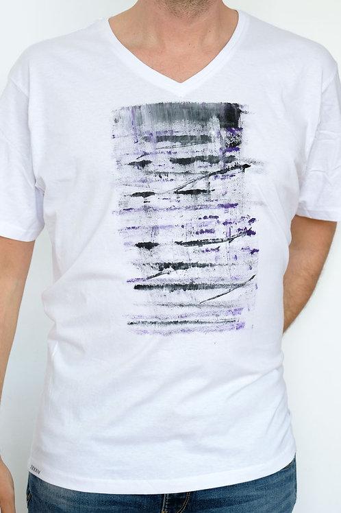 T-Shirt white grey lila v-neck