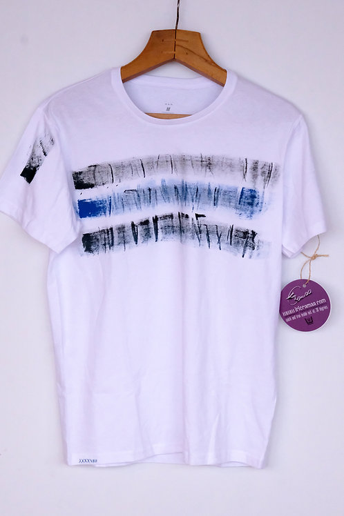T-Shirt white grey blue stripes M cotton
