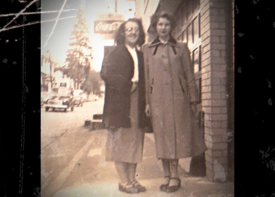 Lucy Jestes (right) and Friend on Main Street in the fifties