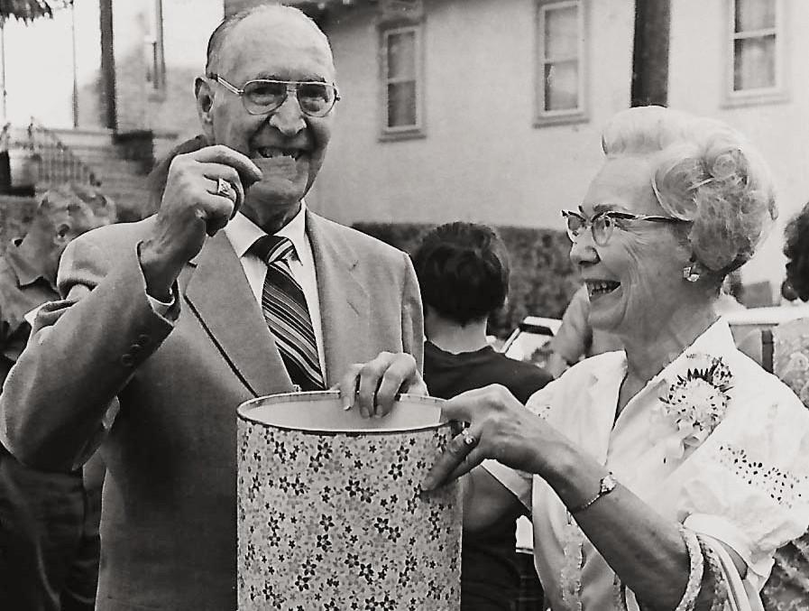 Mayor Brandenburg and Thelma Wimmer in 1974