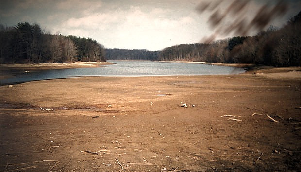 A view of Piney Run Lake in Carroll County around 1999 with the water very low
