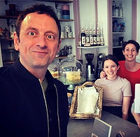Matt Allwright BBC presenter and journalist visiting the Damson Tree Cafe, Cheadle Hulme