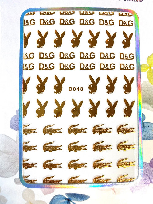 High End Luxry Bunny Crocodile Stickers (Gold) (D048)