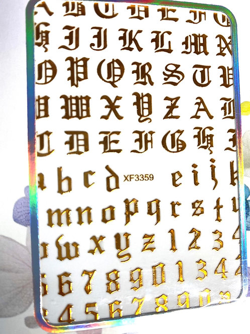 High End Old English Font Stickers (Gold)