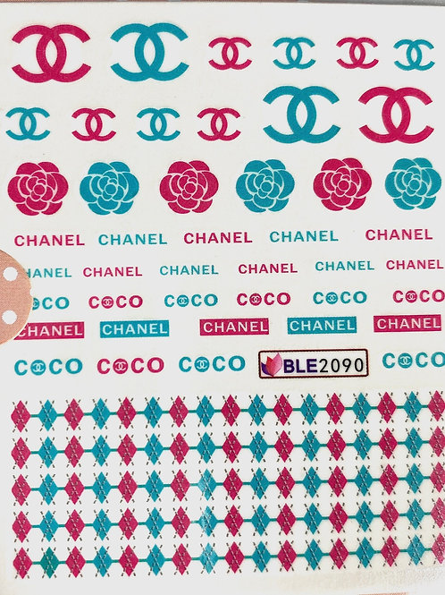 HIGH END LUXURY (Teal & Red) Flowers Decals (BLE2090)