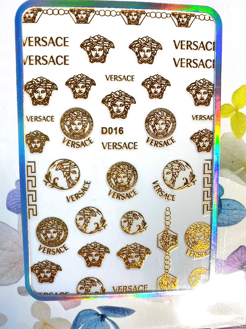 High End Luxury Brand Stickers (Gold) (D016)