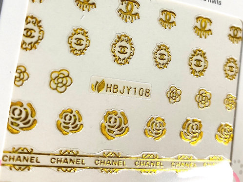HIGH END LUXURY C Drip & Roses Stickers (Gold) (HBJY108)