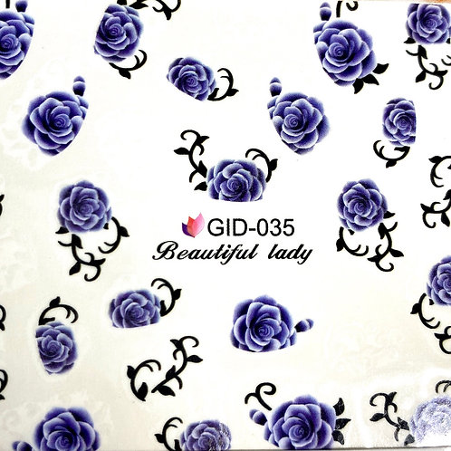 HIGH END LUXURY Blue Roses Decals (GID-035)