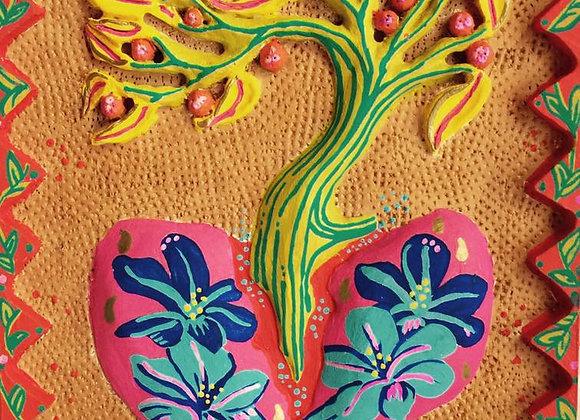 Corazón de Madera-Flores