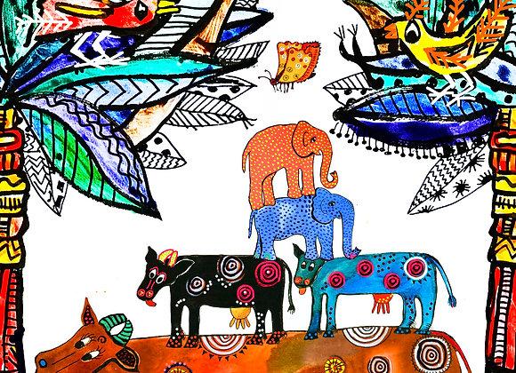 """La vida con vacas e elefantes"""