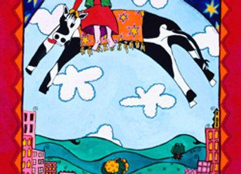 ''Escapando sobre una vaca''