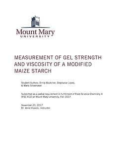 Mount Mary University joined Hydro-Thermal on pressure-cookeds starch research.