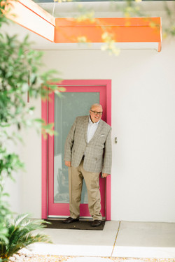 Paul at entrance to Mid-Century Home