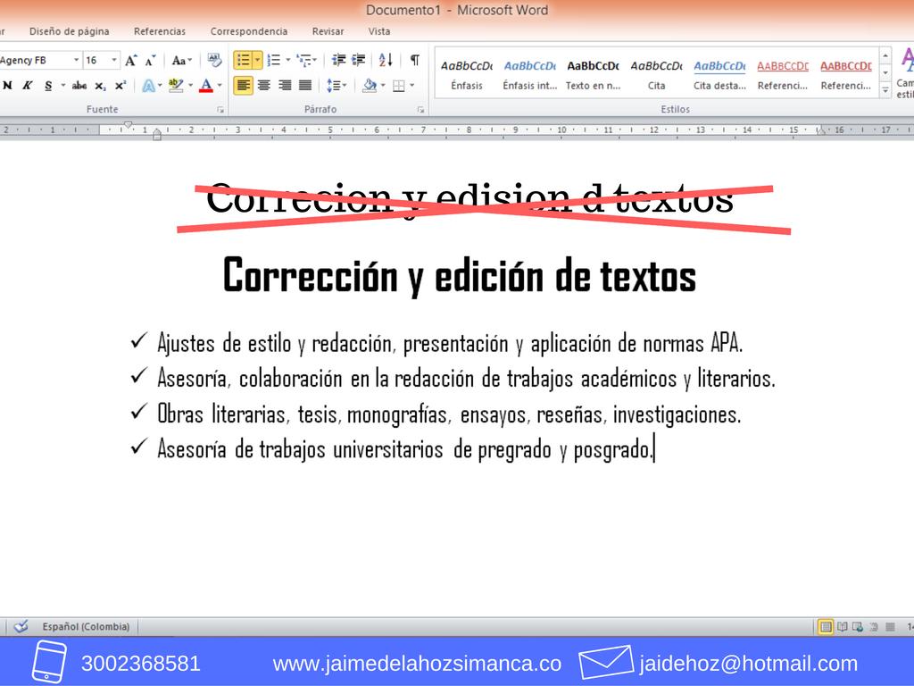 Corrección y edición de textos