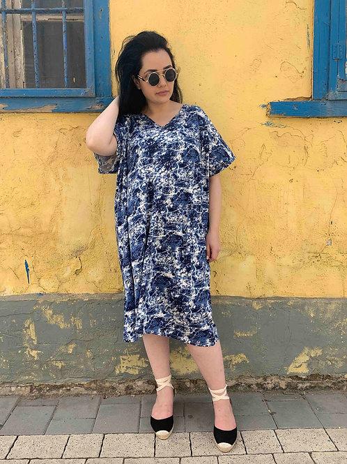 שמלת אלכוג׳ל מונאמור - כחול לבן מקושקש