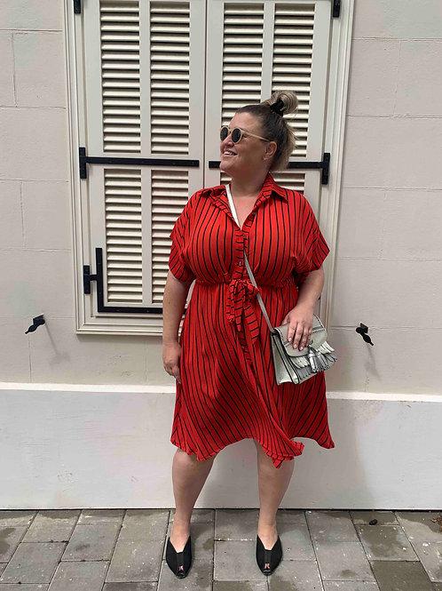 שמלת פפונה - אדום שחור פסים