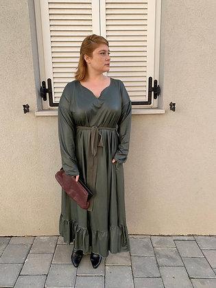 שמלת רווקוקו - ירוק דמוי עור