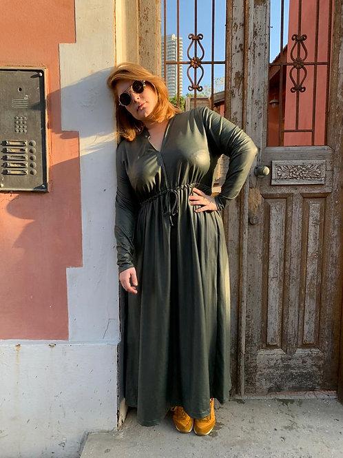 שמלת אני נינה - ירוק דמוי עור