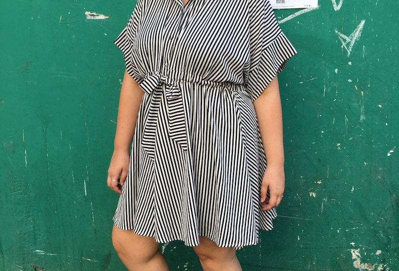 שמלת פפונה - פסים שחור לבן