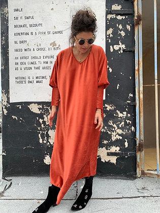 שמלת תראו תראו וי - כתום קטיפה