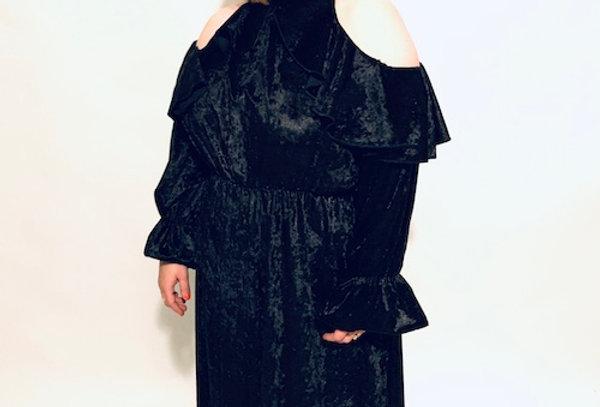 שמלת מותק שלי - שחור קטיפה