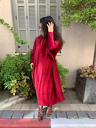 שמלת תראו תראו גולף- בורדו יין קורדרוי דק