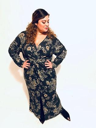 שמלת חתיכת קלפתא- סריג אפור פרחוני