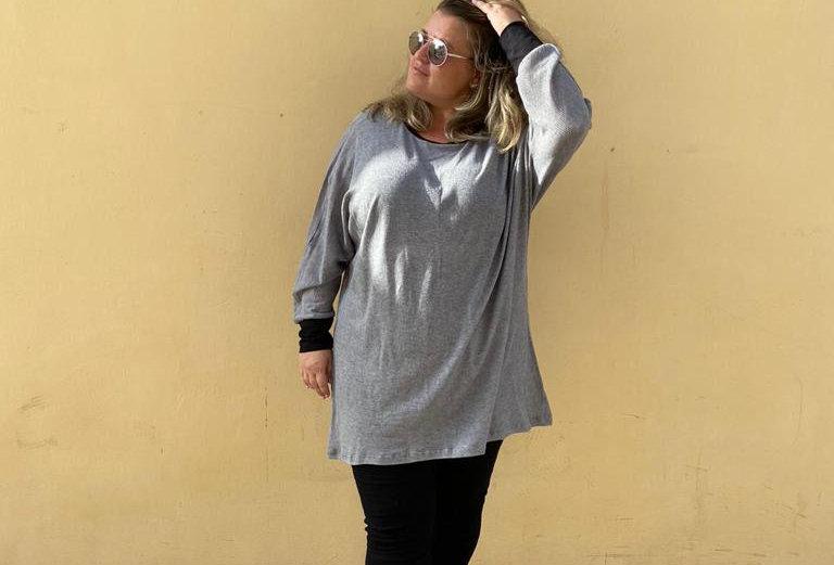 חולצת אובר דראפט - אפור
