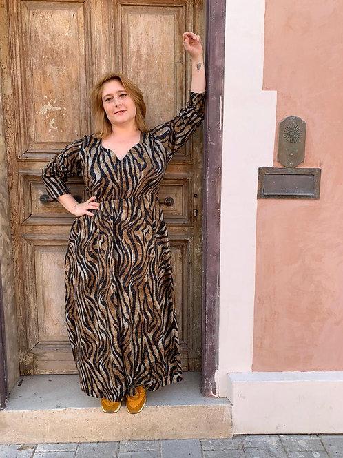 שמלת הנסיכה דיאנה- סריג זברה חום