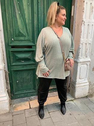 חולצת גרה בשינקין  - סריג מנטה ירקרק