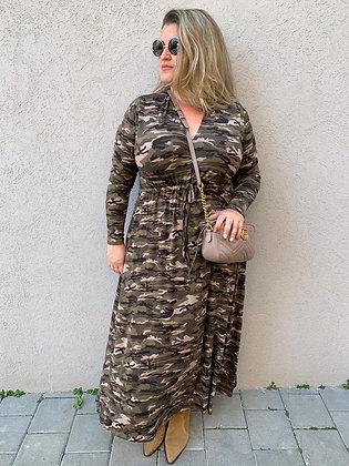 שמלת אני נינה - פרינט צבאי טריקו