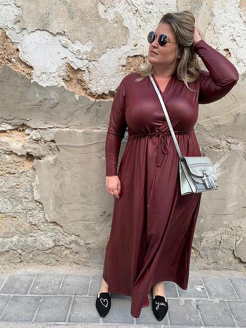 שמלת אני נינה - בורדו דמוי עור