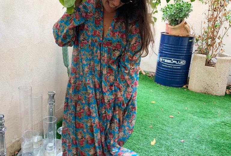 שמלת מארס טורקי - כחול פרחים קטנים