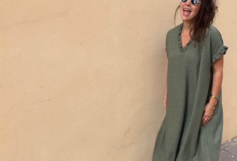 שמלת כבר תרמנו - ירוק זית