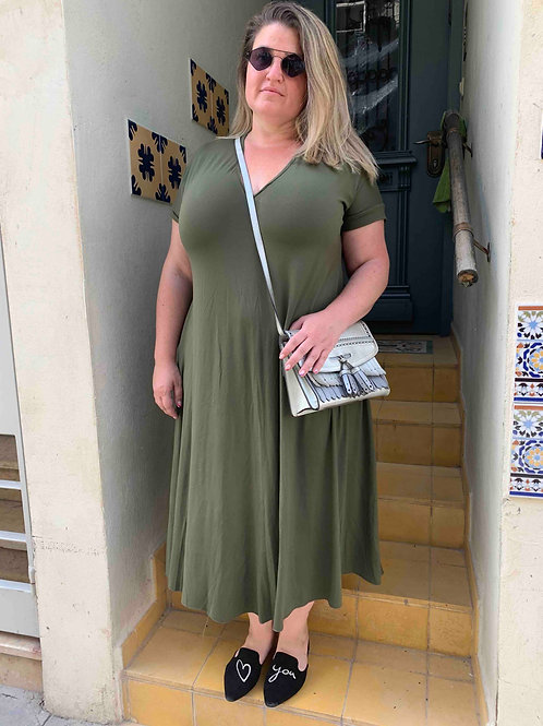 שמלת תכבסי לפעמים - ירוק זית