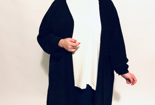 חולצת אובר דראפט - לבן דמוי קורדרוי