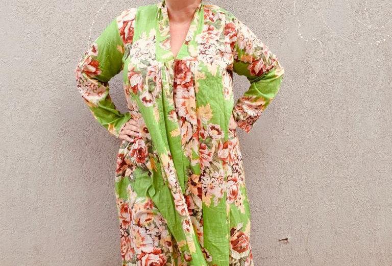שמלת מארס טורקי - ירוק פרחים בהירים