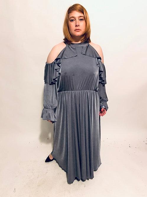 שמלת מותק שלי - אפור מבריק