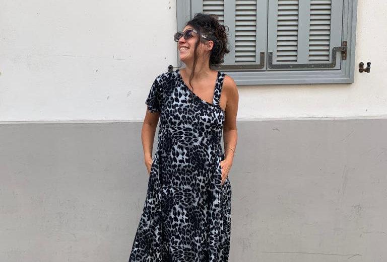שמלת טרומפלדור - מנומר אפור