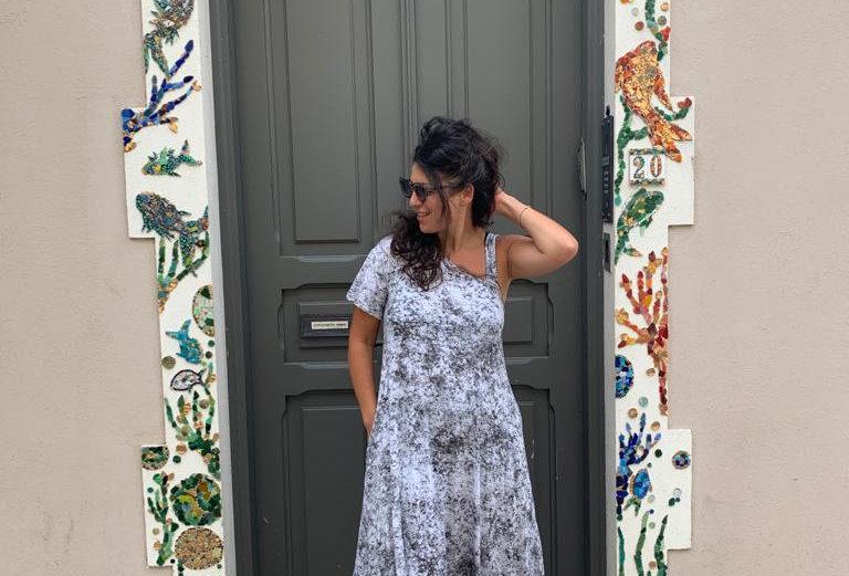 שמלת טרומפלדור - ווש אפור לבן