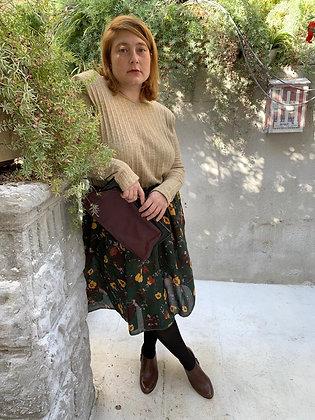 חצאית אל תציצו - ירוק פרחוני וינטג׳