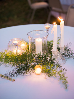 Glass and Greenery Centerpieces