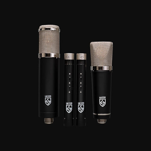 Lauten Audio Series Black microphones LA-320, LA-220, and LA-120.