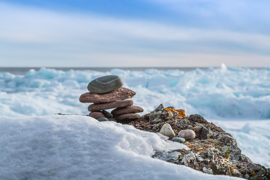Inukshuk on Lake Superior. Winter 2020